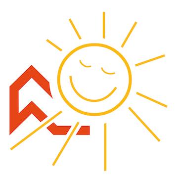 Logo mit Dach und Sonne