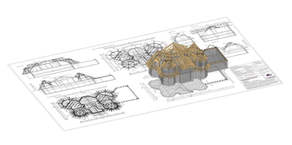 Konstruktionszeichnung Sparrendachstuhl