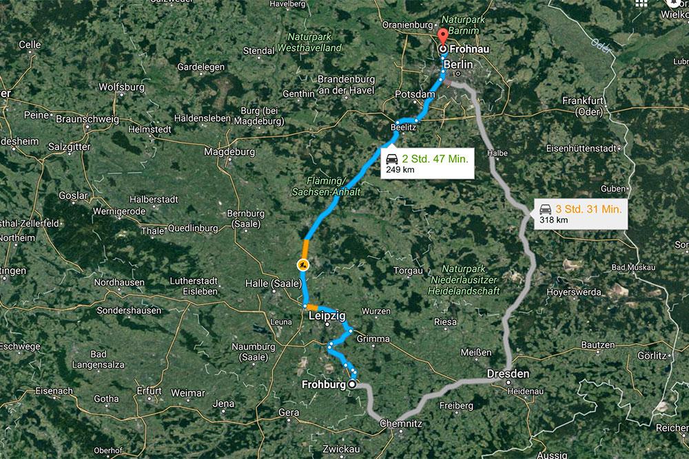 Routenplaner Frohburg - Frohnau